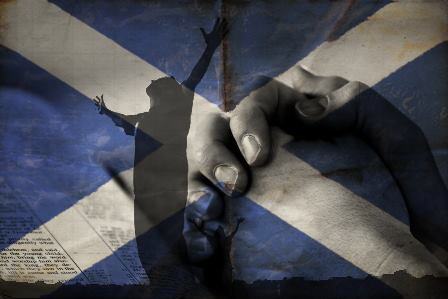 Saltire and Bible hands