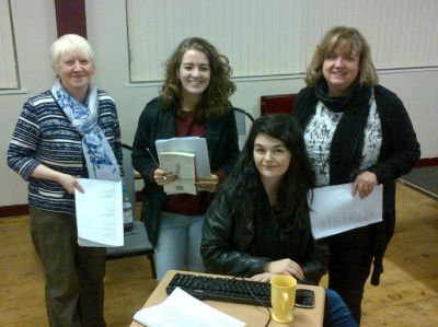 Some of the cast of The Pilgrimage at rehearsals in St Michael's Church Hall